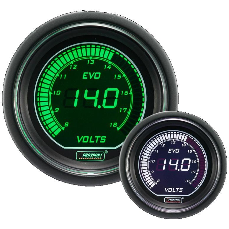 Prosport Green/White 52mm Evo Series Electrical Volt Gauge - Touge ...