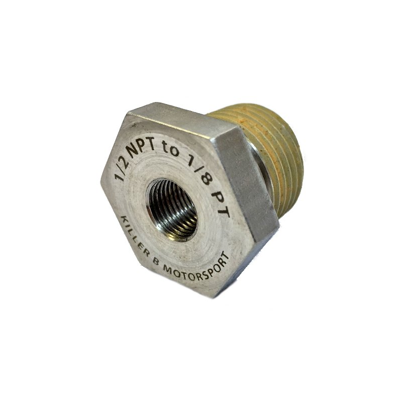 Killer B 1/2NPT To 1/8PT Oil Pressure & Tempature Sensor Adapter - Subaru  WRX, STi, FXT, LGT, OBXT & Baja Turbo