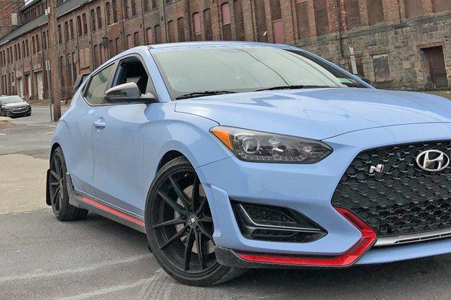 Rally Armor Urethane Mud Flaps – 2019 Hyundai Veloster N – Red w/ White Logo