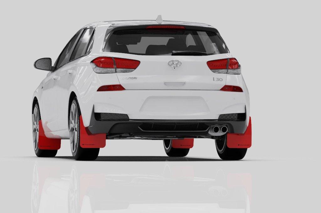 Rally Armor Urethane Mud Flaps 2019 Hyundai Elantra Gt N Line Black W Performance Blue Logo Touge Tuning